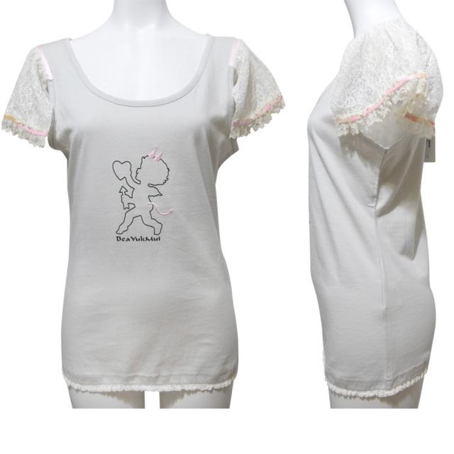 ベアユクムイ レースの袖が可愛い Tシャツ グレー #42 BeaYukMui