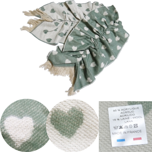 P.cornillon フランス製 ハート リバーシブル シャーリングマフラー カーキ×アイボリー ピーコルニヨン