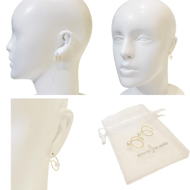 Melissa Mcarthur Jewellery ロンドン発ワイヤージュエリー22kゴールド淡水パールピアス メリッサマッカーサージュエリー