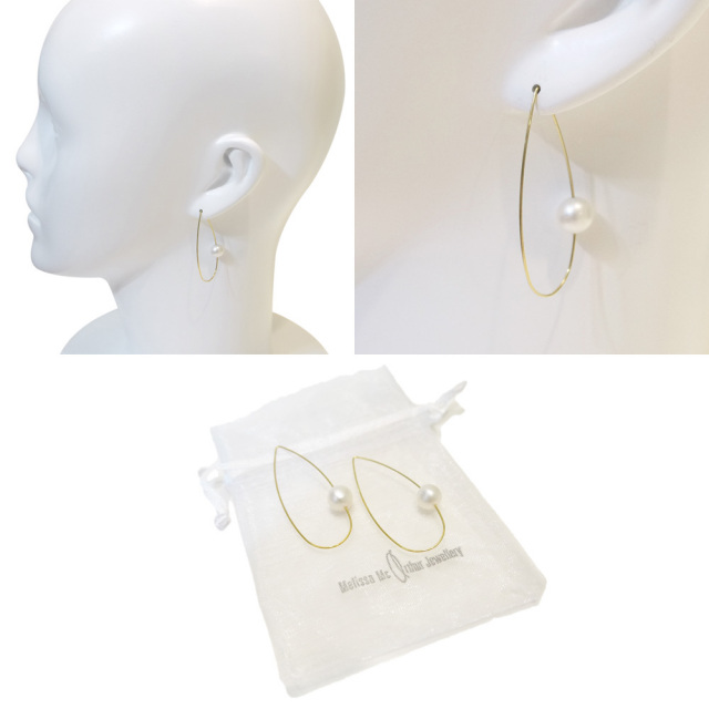 Melissa Mcarthur Jewellery ロンドン発ワイヤージュエリー22kゴールド パールピアス ティアドロップ メリッサマッカーサージュエリー