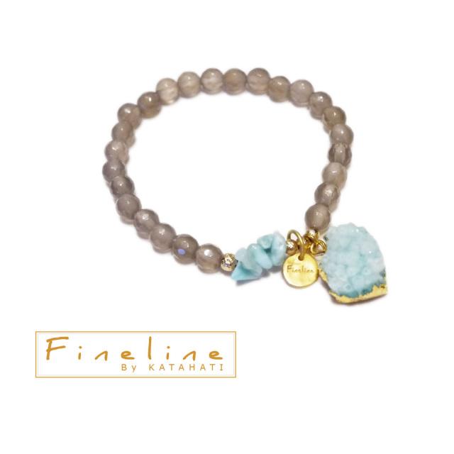 FineLine ドイツ発 天然石アガット&アマゾナイト ストーンブレスレット ブルー