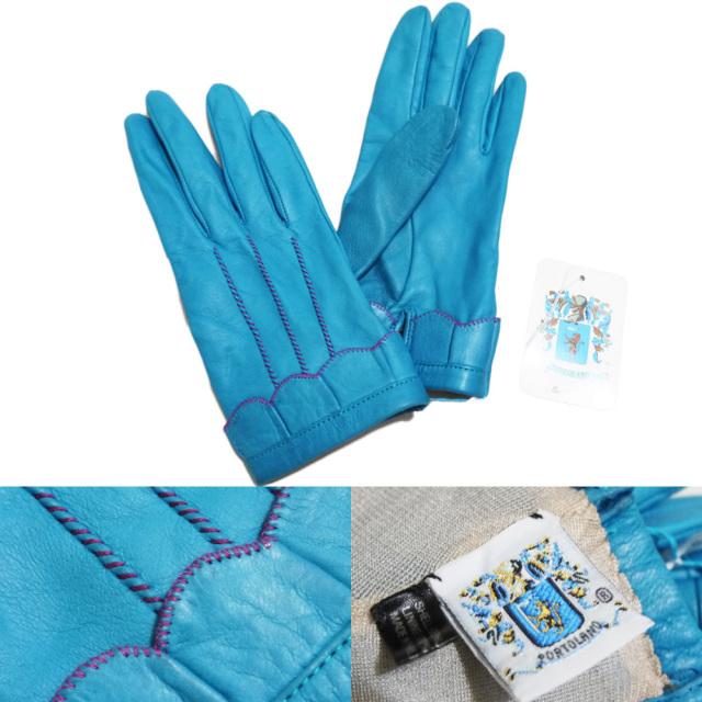 ポートランド イタリア製 レザーグローブ(手袋) ブルー #7 PORTLAND