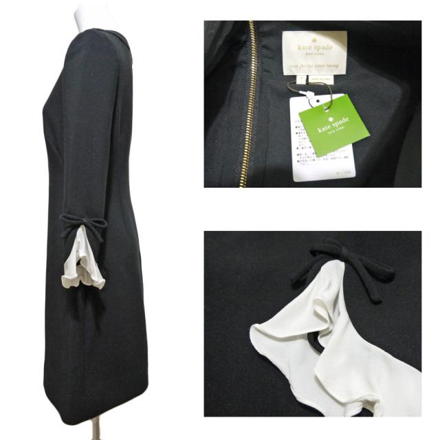 ケイトスペード 七分袖ワンピース 黒 #0 kate spade