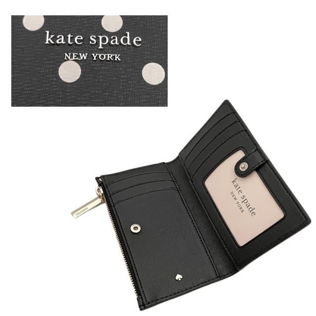 ケイトスペード ドット柄 コイン&カードケース 黒(spencer dod)kate spade