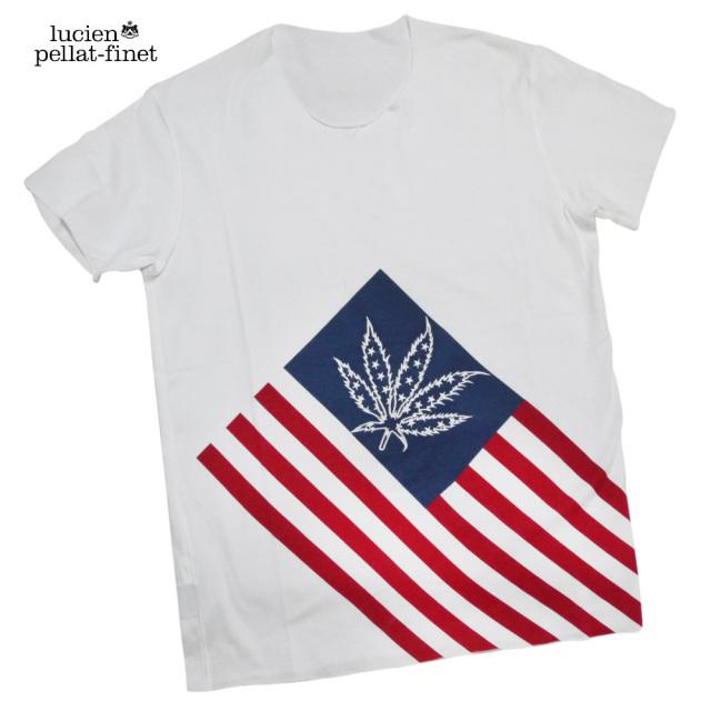 ルシアンペラフィネ メンズ アメリカ国旗風 Tシャツ 白 #M lucien pellat-finet