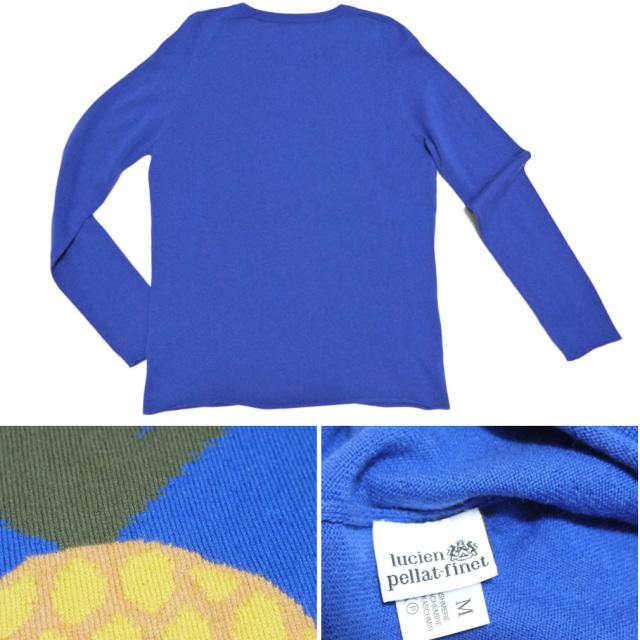 ルシアンペラフィネ メンズ カシミア100%セーター 青 パイナップルスカル #M lucien pellat-finet