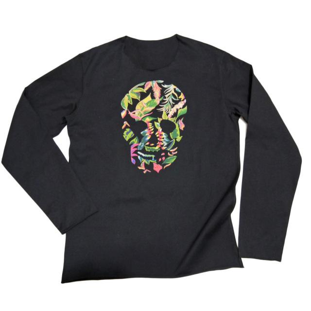 ルシアンペラフィネ メンズ 花柄スカル 長袖Tシャツ(ロンT) 黒 #M lucien pellat-finet