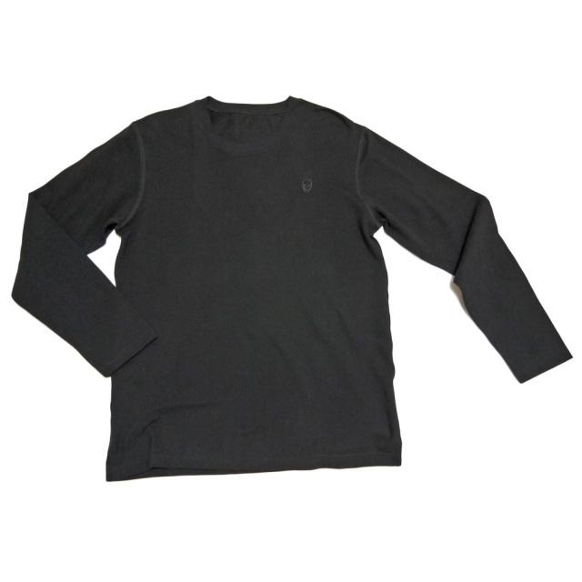 ルシアンペラフィネ メンズ スカル刺繍 鹿の子長袖Tシャツ(ロンT) 黒 #M lucien pellat-finet