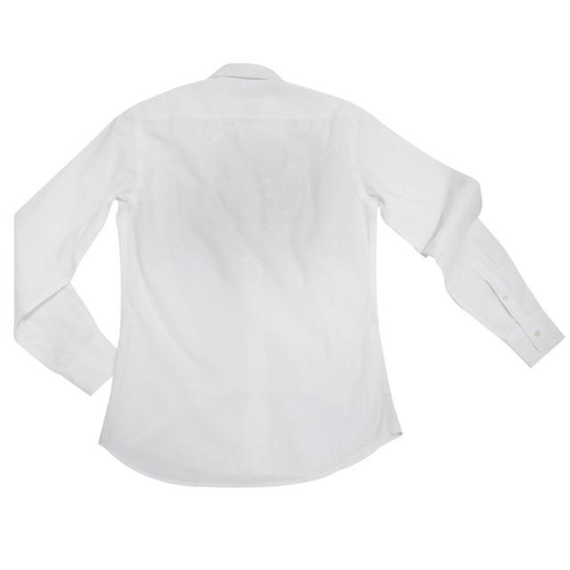 ルシアンペラフィネ メンズ スカル刺繍 長袖シャツ 白 #XS lucien pellat-finet