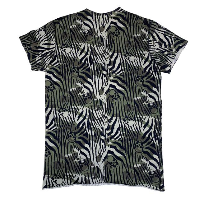 ルシアンペラフィネ メンズ スカルカモフラージュ(迷彩)Tシャツ カーキ #M lucien pellat-finet