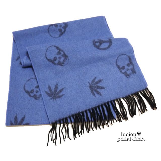 ルシアンペラフィネ 定番ジャガードマフラー スカル&マリファナ ブルー lucien pellat-finet