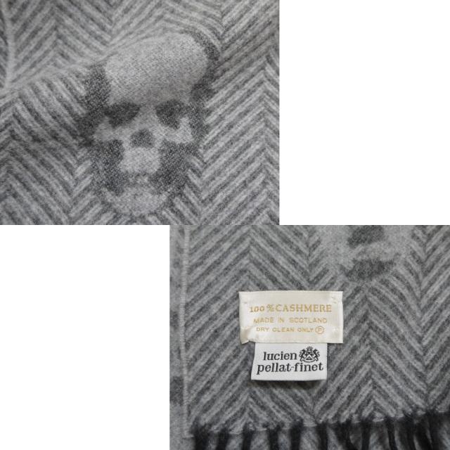 ルシアンペラフィネ 定番ジャガードマフラー スカル グレー lucien pellat-finet