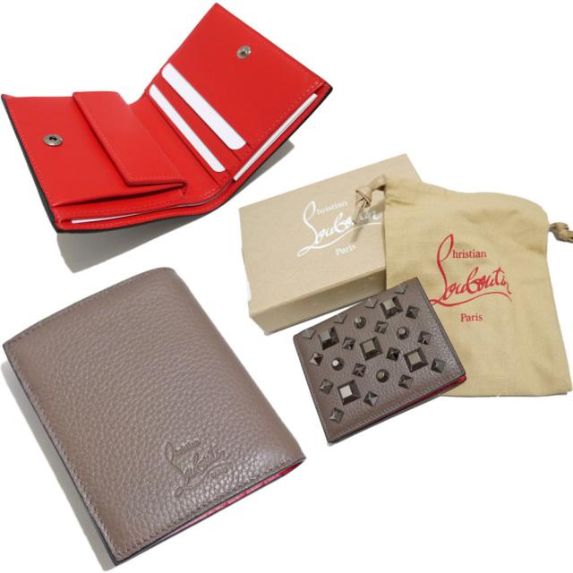クリスチャンルブタン スタッズ 二つ折り財布 コインケース付 ココア色 Christian Louboutin