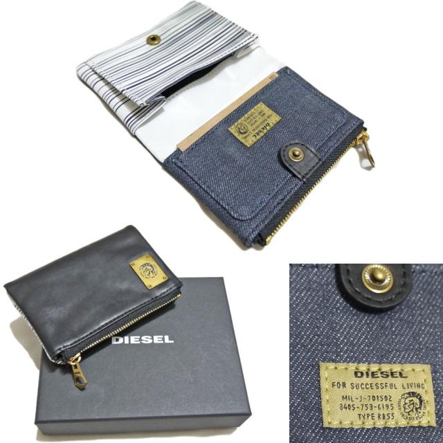 ディーゼル メンズ デニム×レザー カードケース ブラック DIESEL