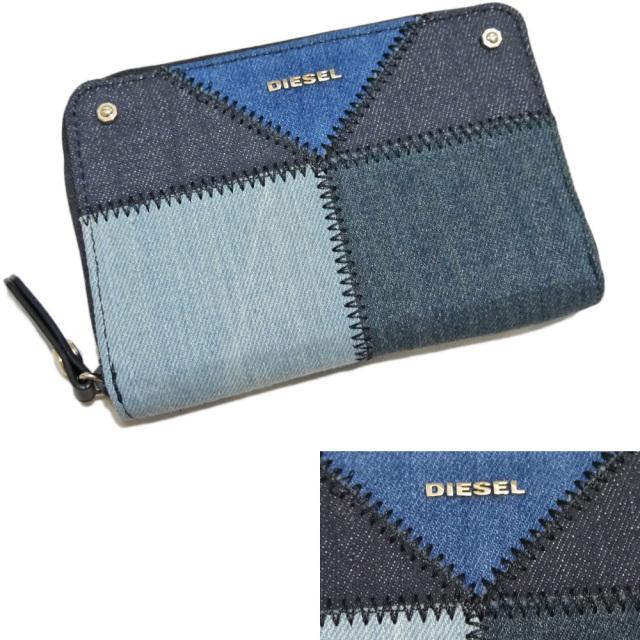 ディーゼル デニムパッチワーク ファスナー財布 ブルー DIESEL
