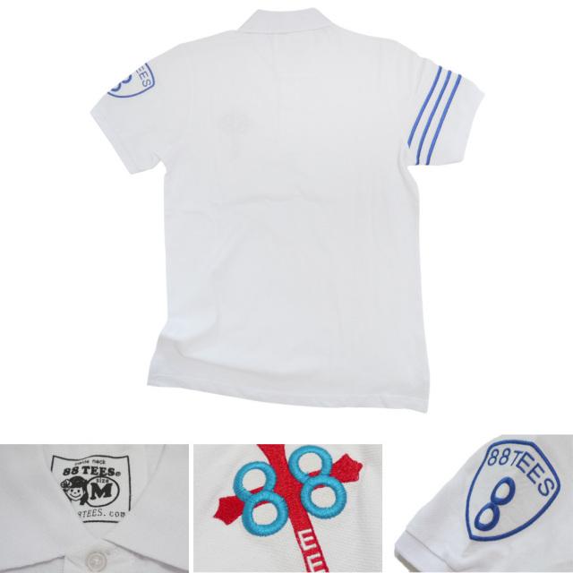 88Tees メンズ 鹿の子 ポロシャツ 白 #M