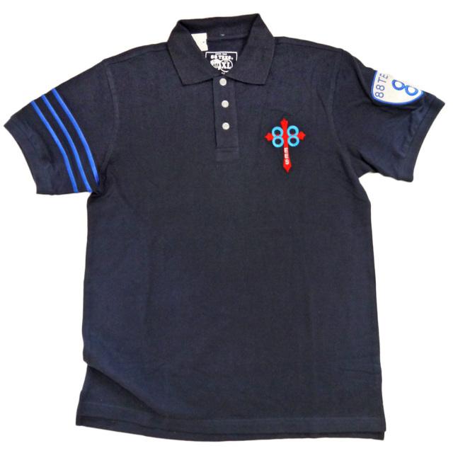 88Tees メンズ 鹿の子 ポロシャツ 濃紺 #XL