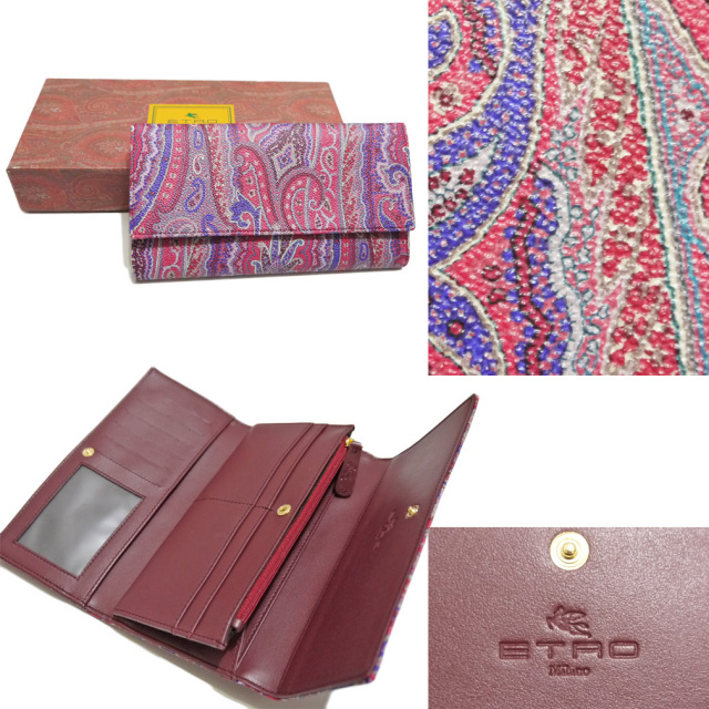 エトロ ペイズリー柄 三つ折り長財布 ピンク ETRO