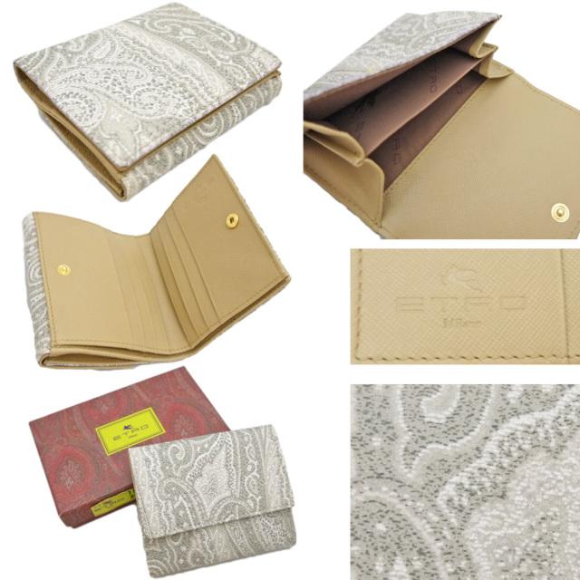 エトロ ペイズリー柄 コンパクト二つ折り財布 グレー ETRO