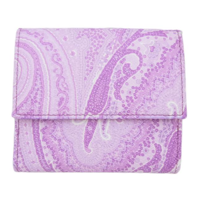 エトロ ペイズリー柄 コンパクト二つ折り財布 パープル ETRO