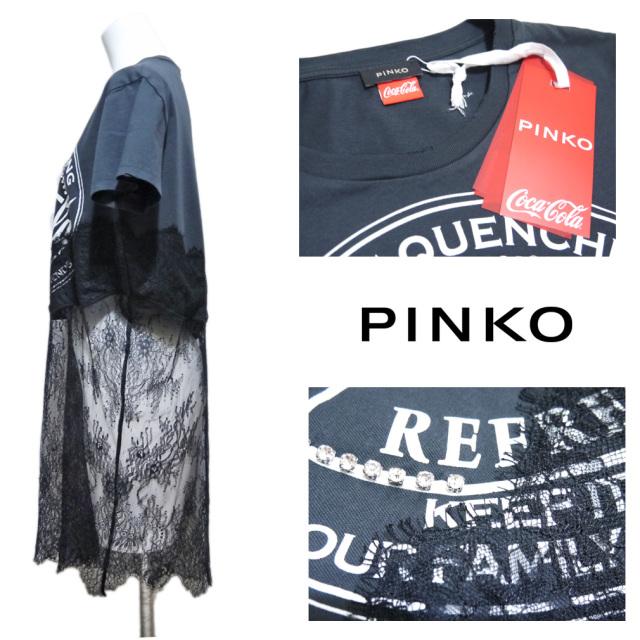 ピンコ コカコーラcocacolaコラボ レースがセクシーなTシャツ  黒 #S PINKO
