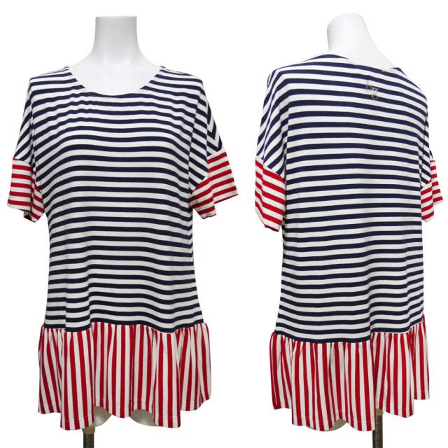 ブルーガール ボーダー半袖カットソー(Tシャツ) ネイビー×赤 #44 blugirl