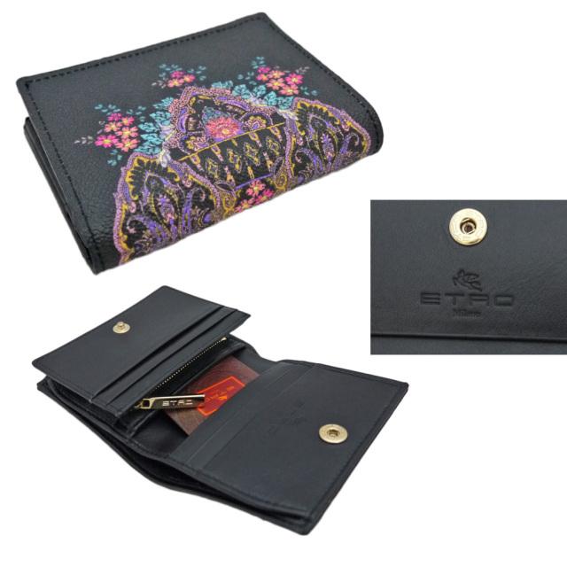 エトロ プリント コンパクト二つ折り財布 黒 ETRO
