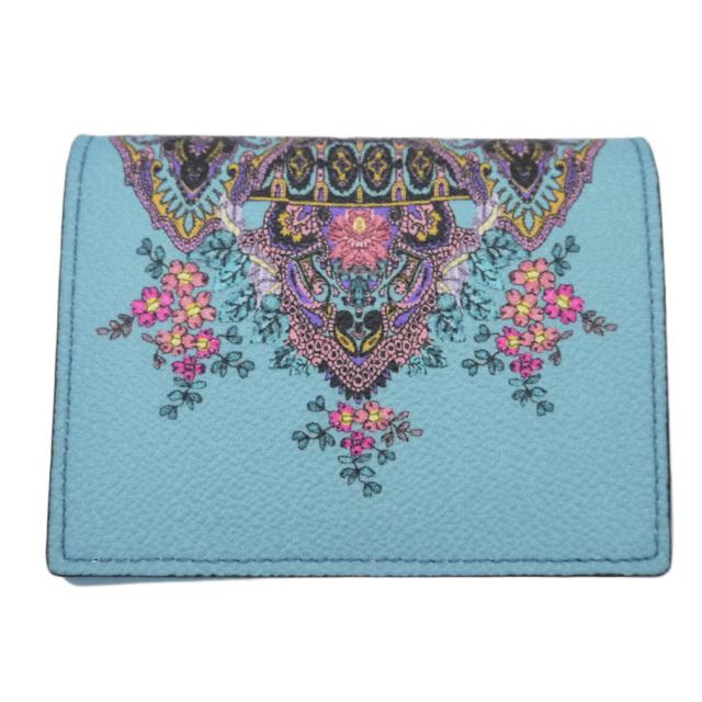 エトロ プリント コンパクト二つ折り財布 ターコイズブルー ETRO