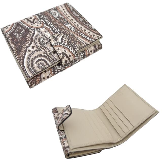 エトロ ペイズリー柄 二つ折り財布 茶 ETRO