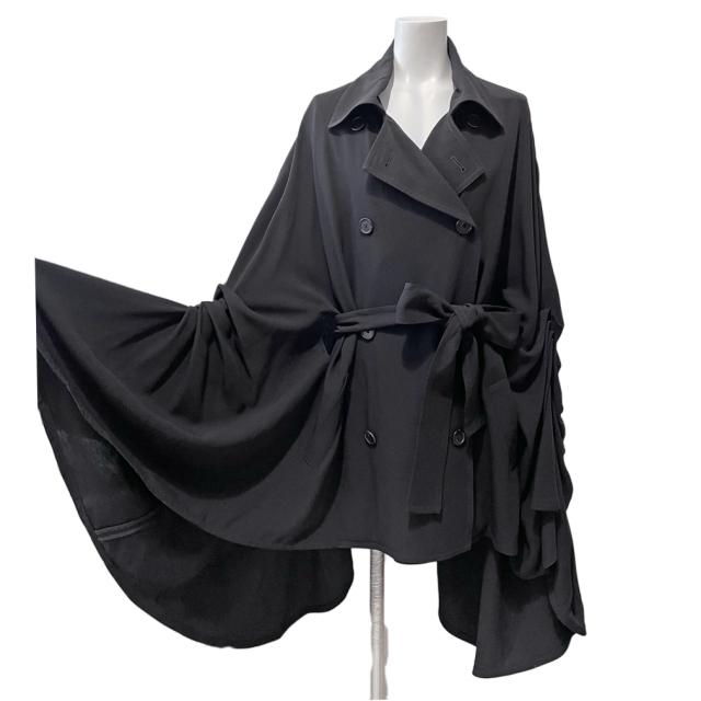 アン・ドゥムルメステール フレアーケープ(ポンチョ)スプリングコート 黒 #40 ANN DEMEULEMEESTER