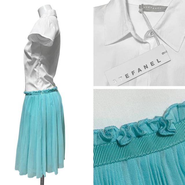 ステファネル 半袖シャツ&プリーツワンピース 白×ブルー #36 STEFANEL