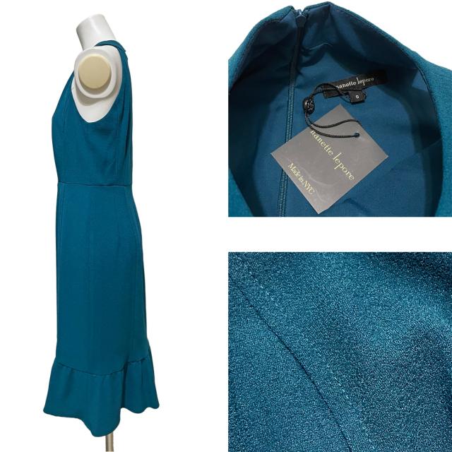 ナネットレポー ノースリ セクシーワンピース 青緑 #0 #2 nanette lepore