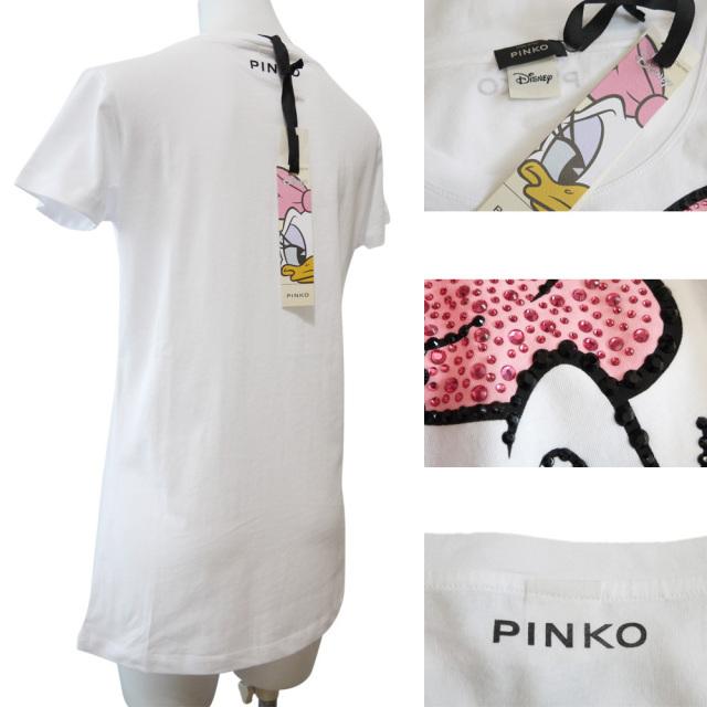 ピンコ ディズニーコラボ デイジー スパンコールTシャツ 白 #XS #S #M PINKO