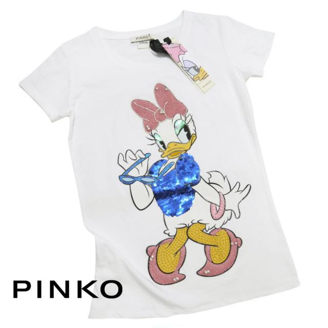 ピンコ ディズニーコラボ デイジー全身 スパンコールTシャツ 白 #XS #S PINKO