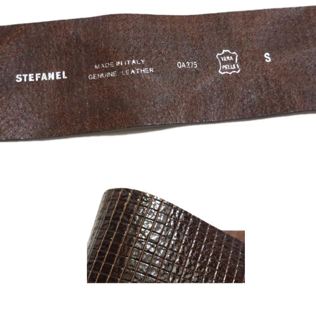ステファネル イタリア製 幅広 レザーベルト 茶 #S STEFANEL