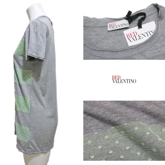 レッドヴァレンティノ レース Tシャツ ネオングリーン×グレー #XS RED VALENTINO