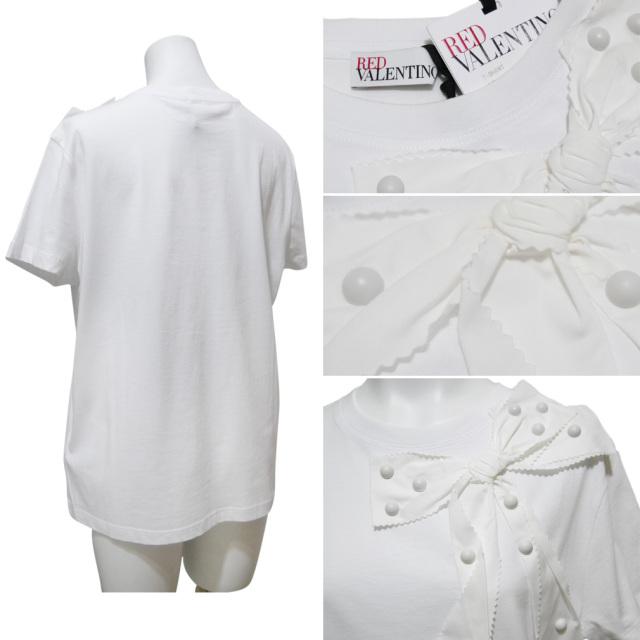 レッドヴァレンティノ リボン Tシャツ 白 #M RED VALENTINO