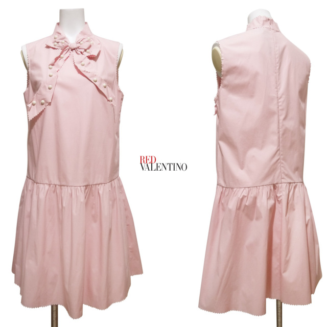 レッドヴァレンティノ スタッズリボン ワンピース ピンク #42 RED VALENTINO