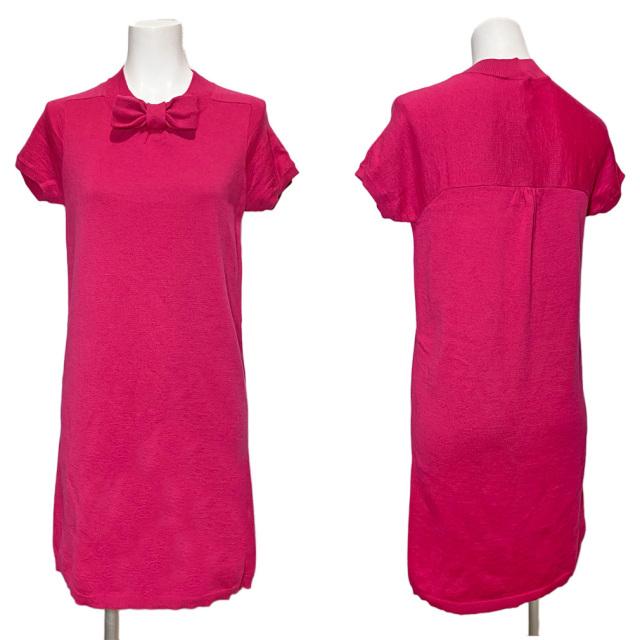 レッドヴァレンティノ 半袖ニットワンピース ピンク #XS RED VALENTINO