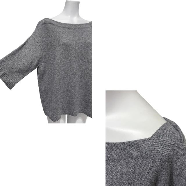 ヴァレンチノ カシミヤ100% 半袖ニット(セーター) グレー #L VALENTINO