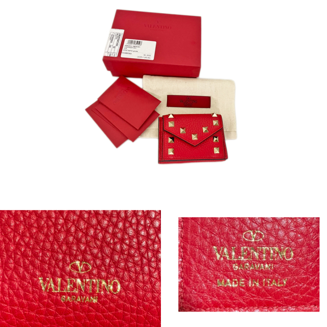 ヴァレンティノ ロックスタッズ 三つ折りミニ財布 赤 VALENTINO