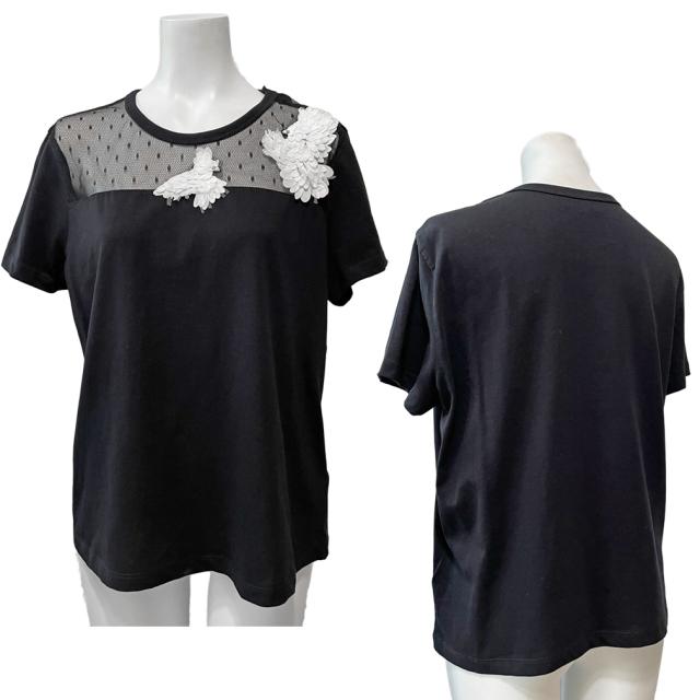 レッドヴァレンティノ チュールTシャツ 黒 #M RED VALENTINO